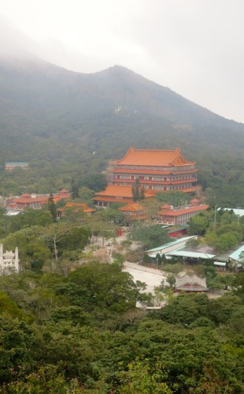 The Po Lin Monastery may look diminutive from here...