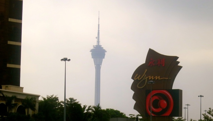 A glimpse of the Macau Tower hovering over Wynn Hotel