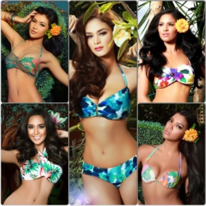 Clockwise from center: Bb. #10 - Pia Wurtzbach, Bb. #11 - Janicel Lubina, Bb. #19 - Christi Lynn McGary, Bb. #28 - Hannah Ruth Lulu Sison, and Bb. #34 - Teresita Ssen Marquez
